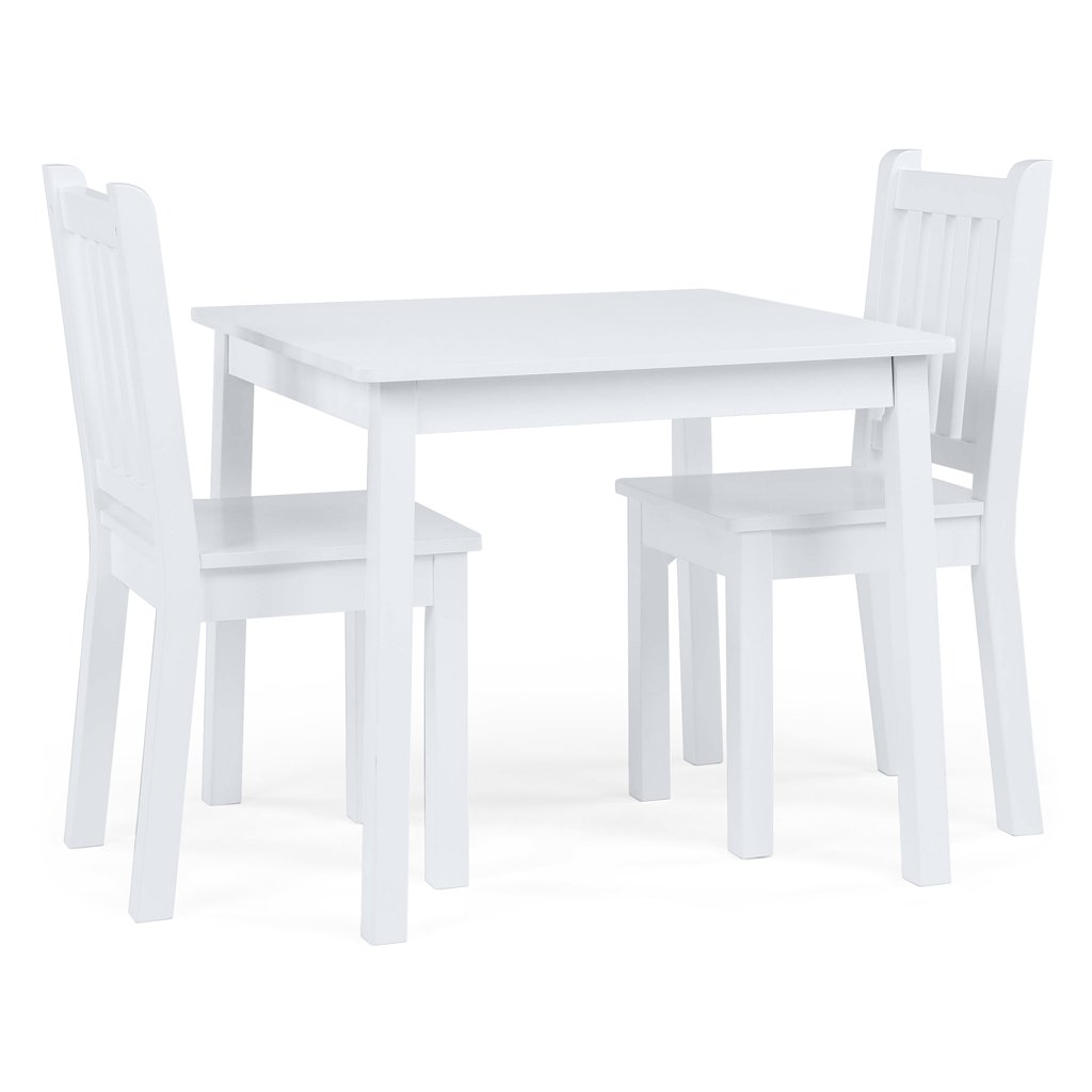Tot Tutors Kids Wood Table and 2 Chairs Set, White (Daylight) by Tot Tutors