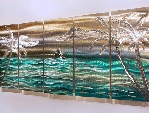 Statements2000 Tropical Beach Large 3D Metal Wall Hanging Sculpture Panel Art by Jon Allen, Silver/Aqua/Gold, 64