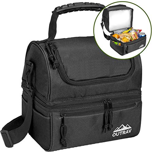 Black Padded Insulated Lunch Bag Cooler – Soft Collapsible Leak Proof Tote For Camping, Picnics and Travel – 2 Large Compartment, Zippered Pocket and Side Pouches - Outrav
