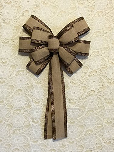 - Custom Bows by Jami Everyday Collection Black & Gold Trimmed Linen Wreath Bow-Large