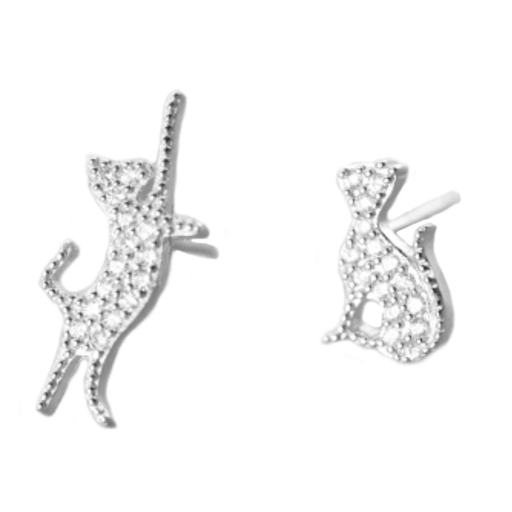 Helen de Lete Asymmetric Cat S925 Sterling Silver Stud Earrings-Silver