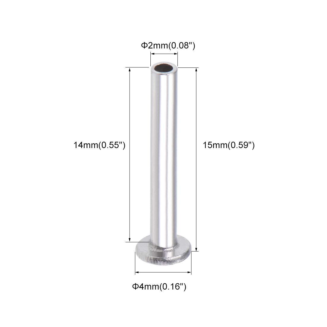 uxcell 100 Pcs M2 x 4mm Aluminum Flat Head Semi-Tubular Rivets Silver Tone