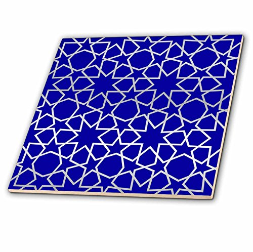 (3dRose ct_56724_3 Silver Stars Outline Geometric Intricate Islamic Art Pattern on Blue Filigree Laser Cut Effect Ceramic Tile, 8-Inch)