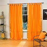 Lined-Pumpkin Tab Top Sheer Sari Curtain / Drape – 80W x 120L – Piece For Sale