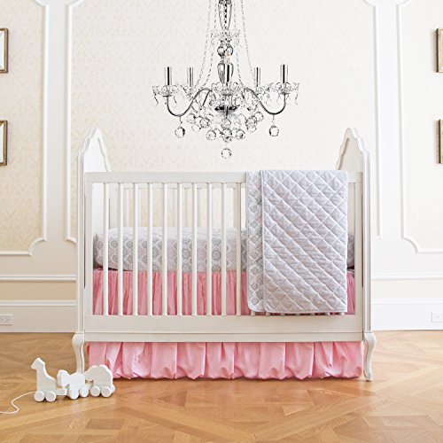 Summer Infant 4 Piece Classic Bedding Set with Adjustable Crib Skirt, Parisian Pink -