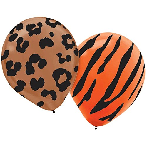 Animal Themed Party Costumes (African Safari Assorted Animal Prints Colorful Balloon Party Decorations, Latex, 12