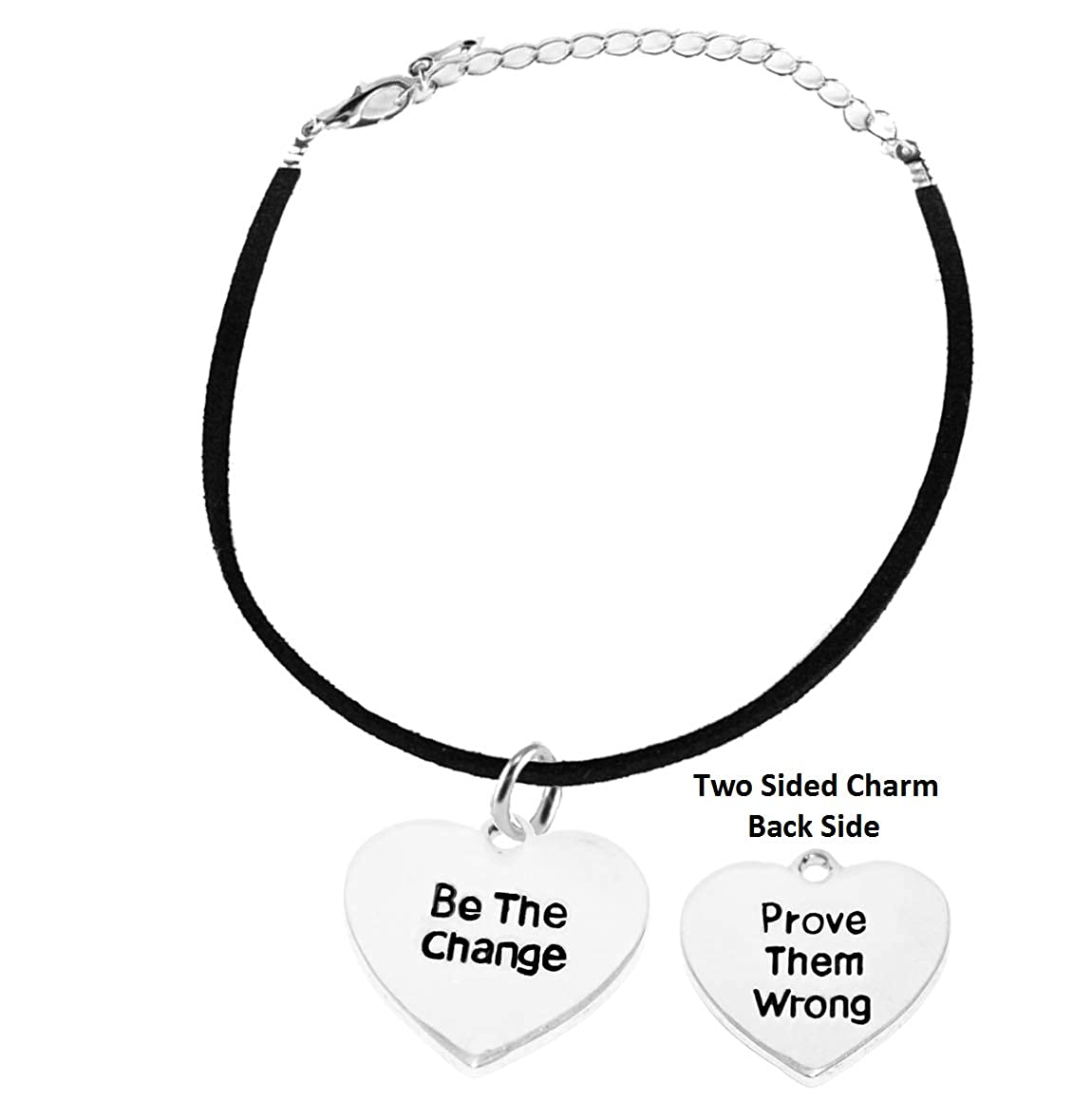 Cardinali Jewelry Be The Change On Black Suede Adjustable Bracelet Hypoallergenic Safe-Nickel Lead and Cadmium Free Prove Them Wrong