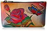 Anuschka Women's Handpaint LR Cosmetic Case-1702-RB Coin Purse, Rb-Rose Butterfly, One Size