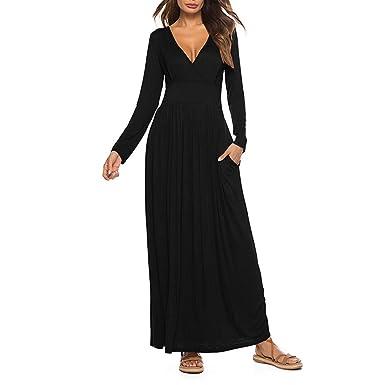 YEBIRAL Las de Mujer Elegantes Vestido Largo con Cuello en V y ...
