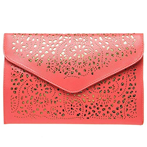 Handbags Out Red Gold Chain Womens Cross Pouch Cut Fashion Perforated Accent Fashion Handbag Foldover Watermelon Superw Body Clutch wqCZIBTx