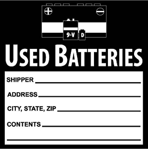 National Marker Corp. HW37SL100 Self-Laminating Labels, Used Batteries, 6 Inch X 6 Inch, PS Vinyl, Bx100 by National Marker