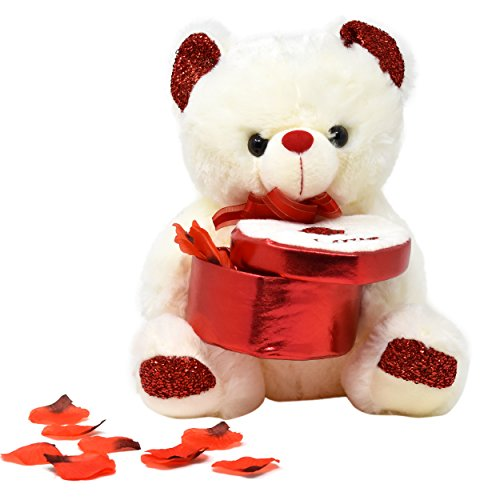 "Review Valentines Day Gifts for Women, Plush Stuffed 12"" Valentines' Teddy Bear Holding a Heart Box with Red Rose Petals, 5 Inch Glass Rose In Gift Box And A Valentine's Card for Girlfriend and Wife"