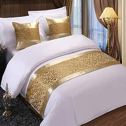 - Twelve Champagne Floral Bed Runner Throw Bedding Bedspreads Single Queen King Bed Cover Towel for Home Hotel Decorations (2pcs Pillowcase 19.7x19.7in)