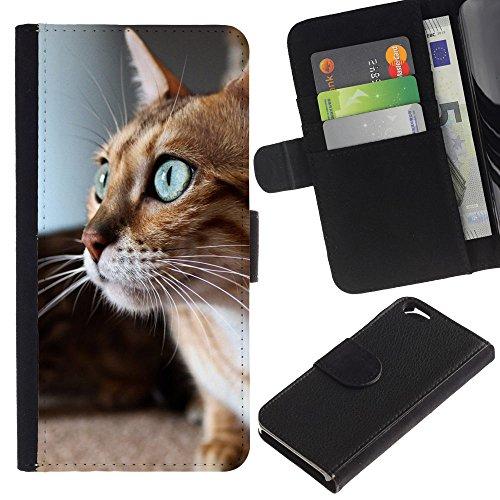 EuroCase - Apple Iphone 6 4.7 - savannah serengeti blue eyes playing cat - Cuir PU Coverture Shell Armure Coque Coq Cas Etui Housse Case Cover