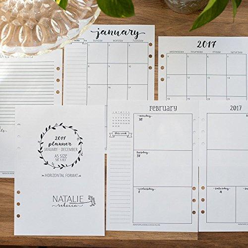 2017-calendar-for-a5-planners-filofax-kikki-k-carpe-diem-planners-monday-start-week-on-two-pages