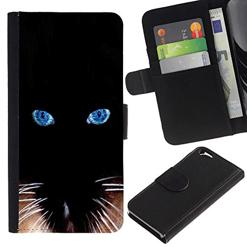 EuroCase - Apple Iphone 6 4.7 - black Siamese cat whiskers eyes - Cuir PU Coverture Shell Armure Coque Coq Cas Etui Housse Case Cover