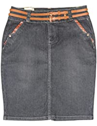 NoFuze Women's Double Belted Knee High Cotton/Spandex Denim Skirt