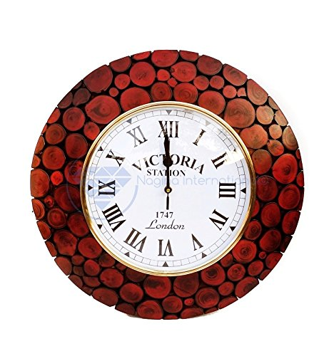 Wooden Decorative Wall Clock | cute red wall art