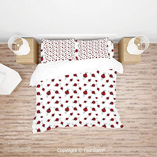 FashSam 4 Piece Bedding Sets Breathable Ladybug with Dotted Wings Swirls and Curves Abstract Simple Pattern Animal Decorative for Home(Queen)