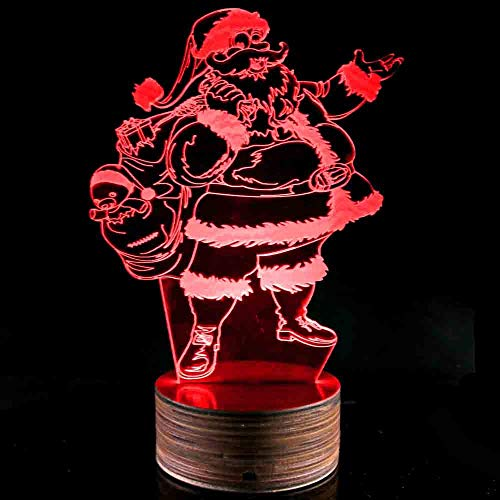 Novelty Lamp, Night Light 3D LED Lamp Optical Illusion Santa Claus, 16 Color Remote Control Changes, with USB Charging Connector, Children's Gift Toys,Ambient Light by LIX-XYD (Image #5)