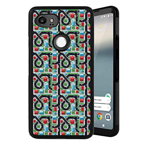 Google Pixel 2 XL Love,Hipster Hearts Pattern with Love You Texts Heart Shapes Valentines Day Theme,Vermilion Multicolor Case, Tire Tread Texture Anti-Drop Anti-Skidding PC+TPU Case