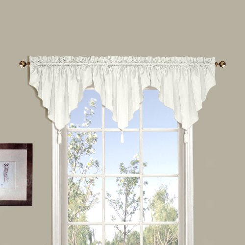 United Curtain Sterling Woven Ascot Valance, 42 by 24-Inch, Oyster (Stripe Ascot Valance)