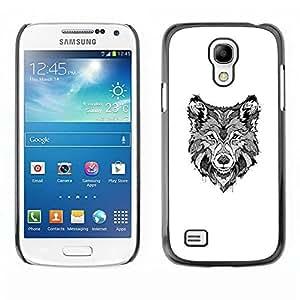 PC/Aluminum Funda Carcasa protectora para Samsung Galaxy S4 Mini i9190 MINI VERSION! black white hound dog canine sketch / JUSTGO PHONE PROTECTOR