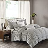 Ink+Ivy Reese Duvet Cover King/Cal King Size - Grey, Pintuck Duvet Cover Set – 3 Piece – 100% Cotton Light Weight Bed Comforter Covers