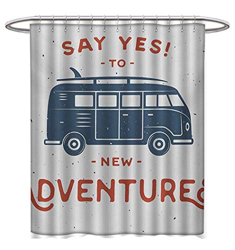 Vintage Shower Curtains Digital Printing New Adventures Typography with Little Van Hippie Lifestyle Free Spirit Print Custom Made Shower Curtain W69 x L75 Cadet Blue White