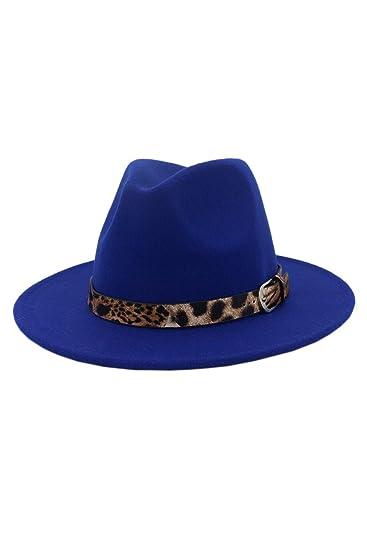 Sombrero Fedora De Mujer Jazz Leopardo Cinturón Hebilla De ala Ancha  Fieltro Gorra Azul One Size  Amazon.es  Ropa y accesorios 3e5c1aaeac3
