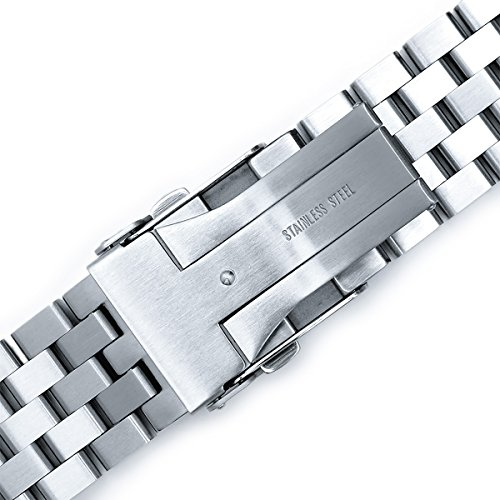 22mm SUPER Engineer Type II Solid Stainless Steel Curved End Watch Band-fit Seiko skx007