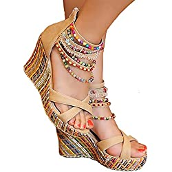 Getmorebeauty Women's Wedge Pearls Across The Top Platform High Heels 8 B(M) US
