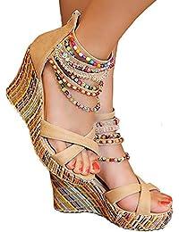 Women's Wedge Sandals Pearls Across The Top Platform High Heels