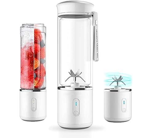 Batidoras de Vaso Individuales, 600ML Mini Licuadora Eléctrica, Recargable Juice Blender con USB, para Zumos de Fruta y Verdura, Ensalada, Sopa, Alimentos para Bebés (White): Amazon.es: Hogar