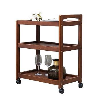 Carrito YXX Mesa Cocina de 3 estantes, té con Soporte para Vino y Ruedas de Madera, 59x34.5x73cm: Amazon.es: Hogar