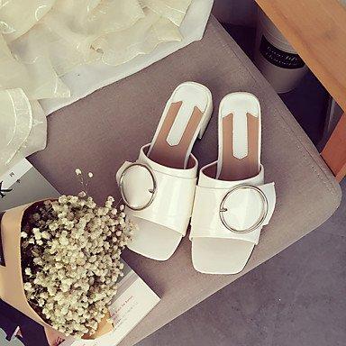 RUGAI-UE Moda de Verano Mujer sandalias casuales zapatos de tacones PU Confort,Negro,US6.5-7 / UE37 / UK4,5-5 / CN37 White