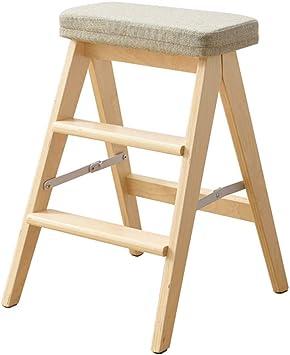 Escaleras plegables Taburete escalera de madera multifunción Cocina plegable pasos Oficina de la biblioteca 3 Step Mini Stepladder cojín extraíble (6 colores) (Color : Gray): Amazon.es: Bricolaje y herramientas