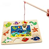Children's Wooden Magnetic Puzzle Fishing Toys, Fun Fishing Game Toys