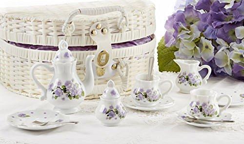Delton Porcelain Tea Set in Basket, Purple Glory (Baskets Childrens Tea)