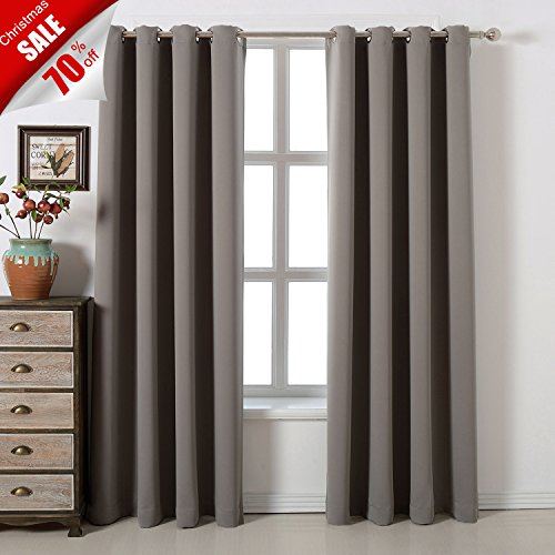 tains Set 100% Polyester Grommet Top Room Darkening Panels Thermal Insulating Draperies For Saving Energy Noise Reduction & UV Rays Blocking Light Grey (Polyester Curtain)