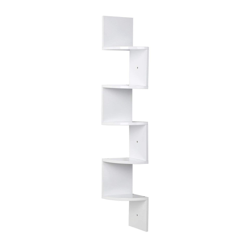 HOMFA 5 Tiers Zig Zag Wall Corner Shelf Wall Mounted Floating Organiser Display Storage Unit (20 x 20 x 123cm,Black) HF