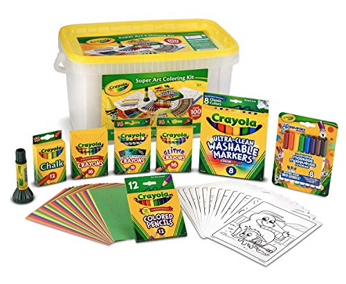 Crayola Super Art Coloring Kit, Gift for Kids, Over 100Piece (Amazon Exclusive) (Crayola Washable Set Art)
