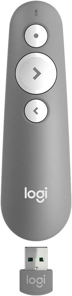Logitech R500 Presentador Inalámbrico, 2.4 GHz con Receptor USB, Puntero Láser Digital Rojo, Distancia de 30 Metros, 6 Botones, Compatible con PC, Gris/Blanco