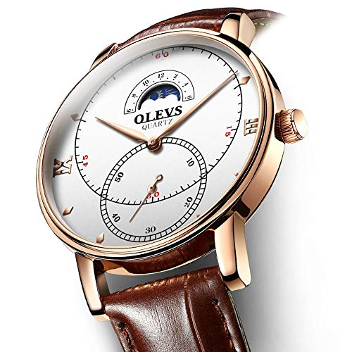 Rose Gold Watches for Men,Brown Leather Watch Men Business Casual Wrist Watch,Fashion Japan Quartz Movement Watch with White Face,Men's 30m Waterproof Wrist Watches,Round White Dial by OLEVS