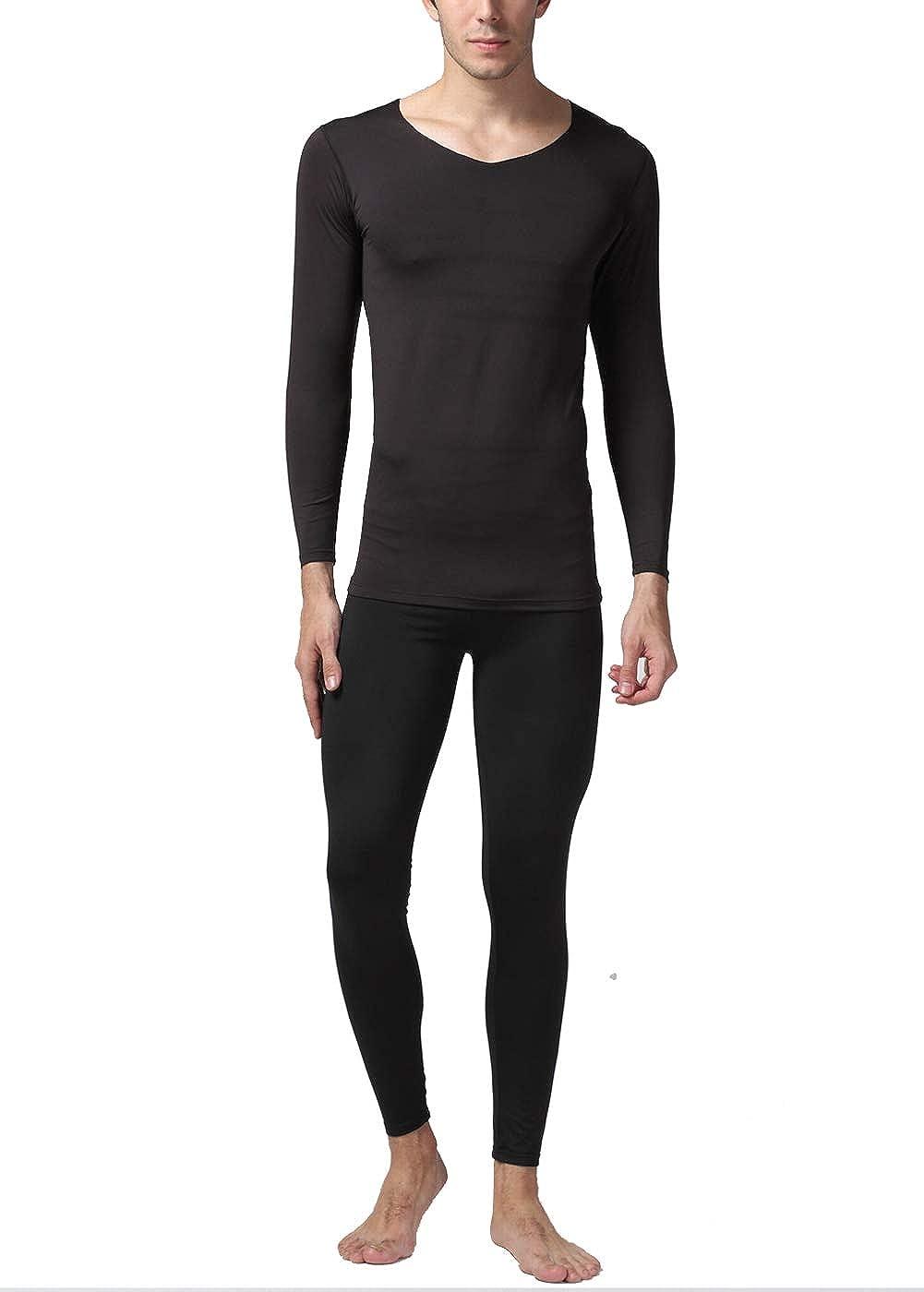 Intimo Termico Maschile Set Contiene Vestiti e Pantaloni Set di Biancheria Intima da Uomo Scollo a V Senza Cuciture