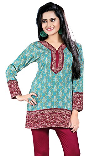 Maple Clothing Printed Long Sleeve Indian Kurti Top Tunic Womens Blouse – S…Bust 34 inches, Turquoise