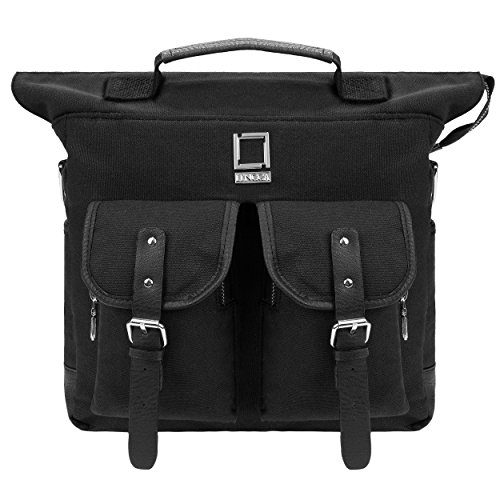 Deluxe Vertical Leather Case (Lencca Mini Phlox Backpack BLACK Carry on Bag fits Microsoft Surface Pro 4 , Pro 3 , Surface 2 Pro)