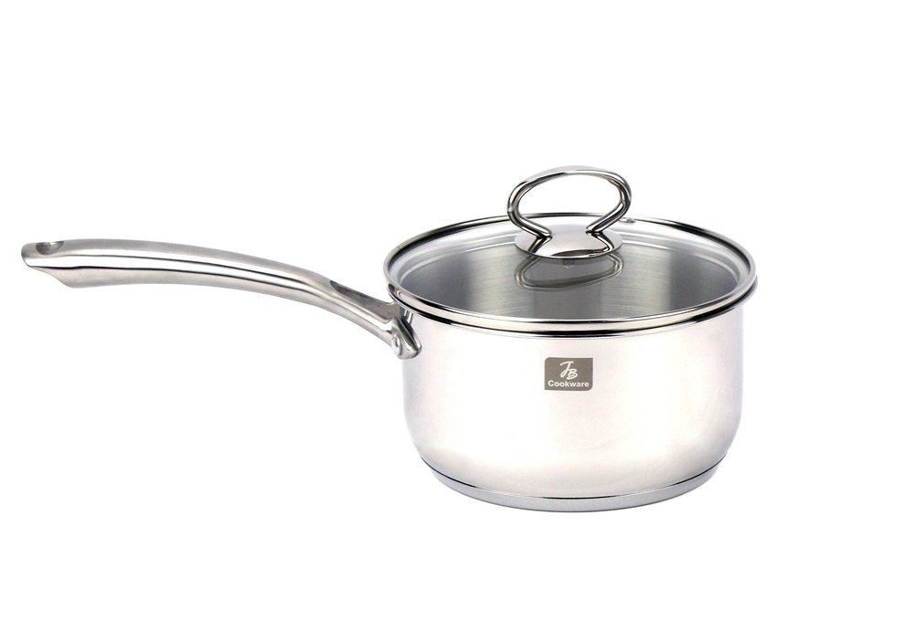 Excelife JBCH0316 Jb Cookware Carina 1.6 Quart  Stainless Steel Induction Sauce Pan With Tempered Glass lid, 6.5'', Silver