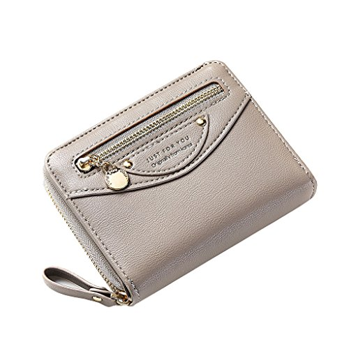 Women Compact Bifold Leather Pocket Wallet Ladies Mini Purse Cute Coin Pouch Small Zipper Pocket Card Holder Flap Grey