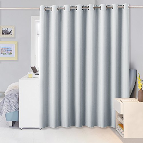 Living Room Divider Curtain Partitions - PONY DANCE Sunlight Block Privacy Screen Room Darkening Window Drapes for Patio Sliding Doors, 9' Tall x 15' Wide, Greyish White, Single Panel (For Doors Patio Room Darkening Shades)